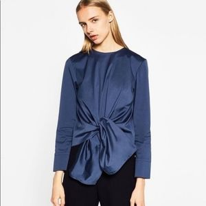 Zara Woman Blue Poplin Top With Knot. Size Small